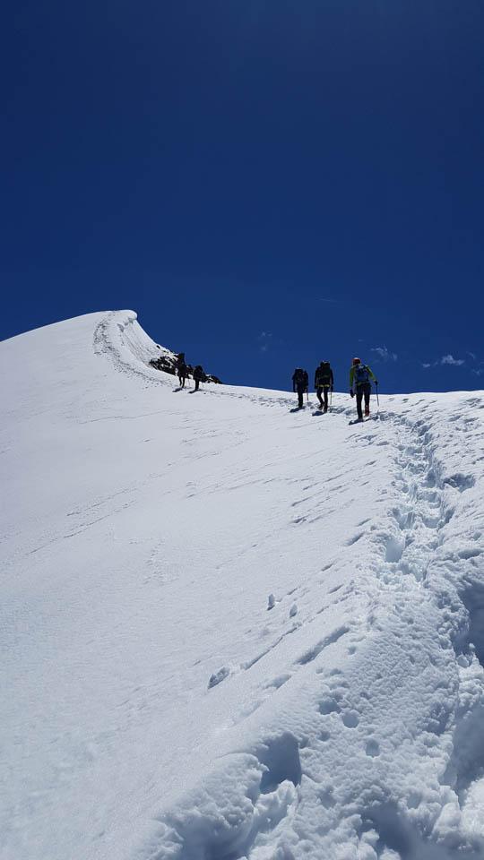 Pitztal Hochtourenkurs finaler Anstieg nahe am Schneegrat