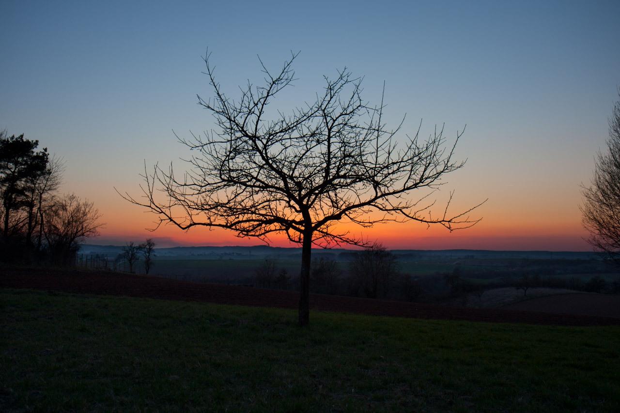 Sonnenuntergang Herbst nördlicher Odenwald