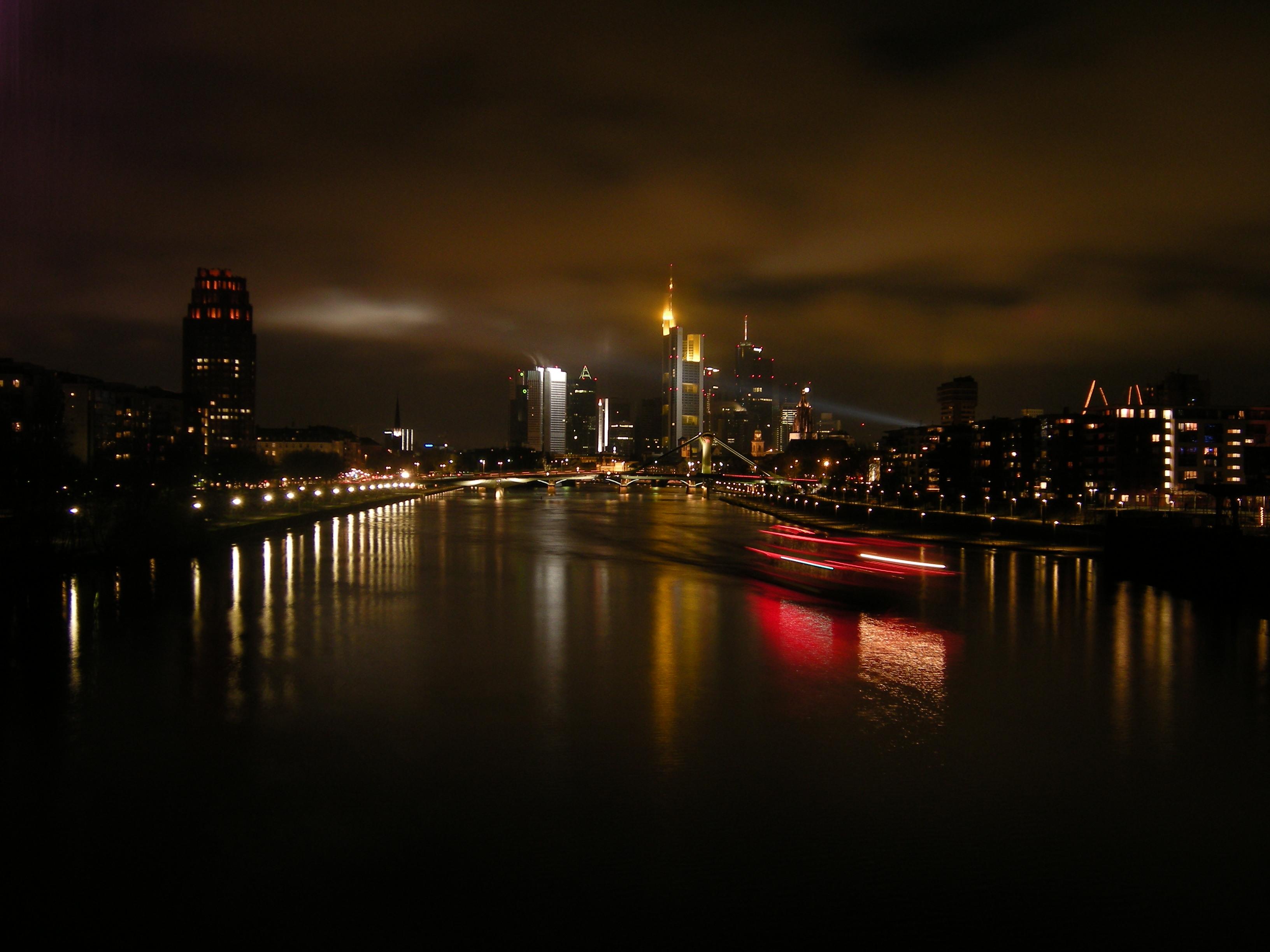 Frankfurt Main Nacht Skyline